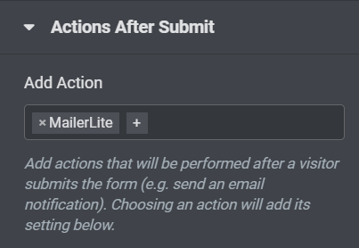 elementor actions after submit mailerlite