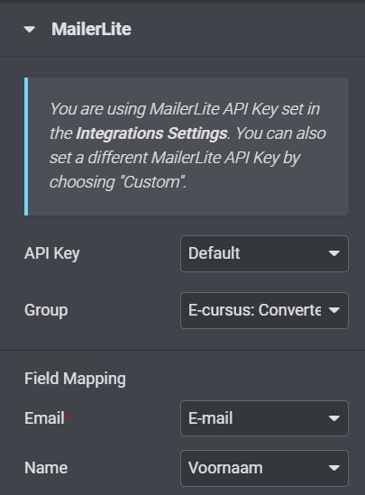 mailerlite elementor settings